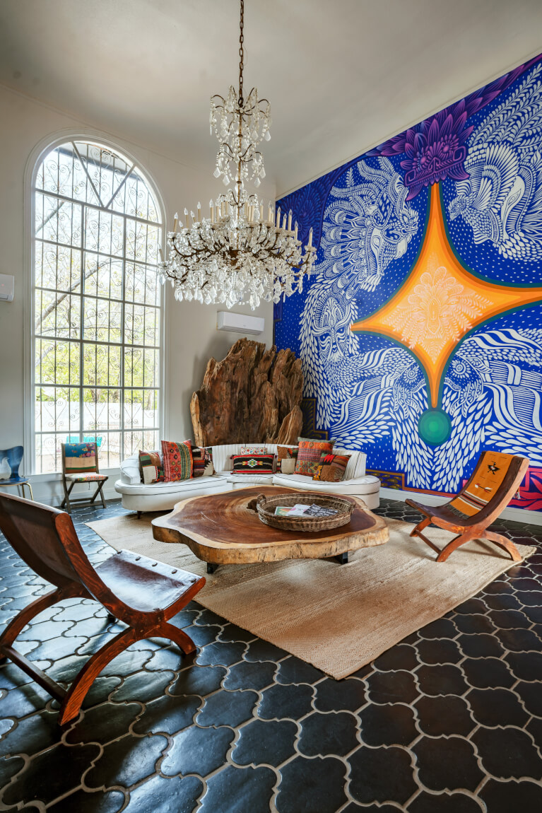 Mansion in Austin with mural painting